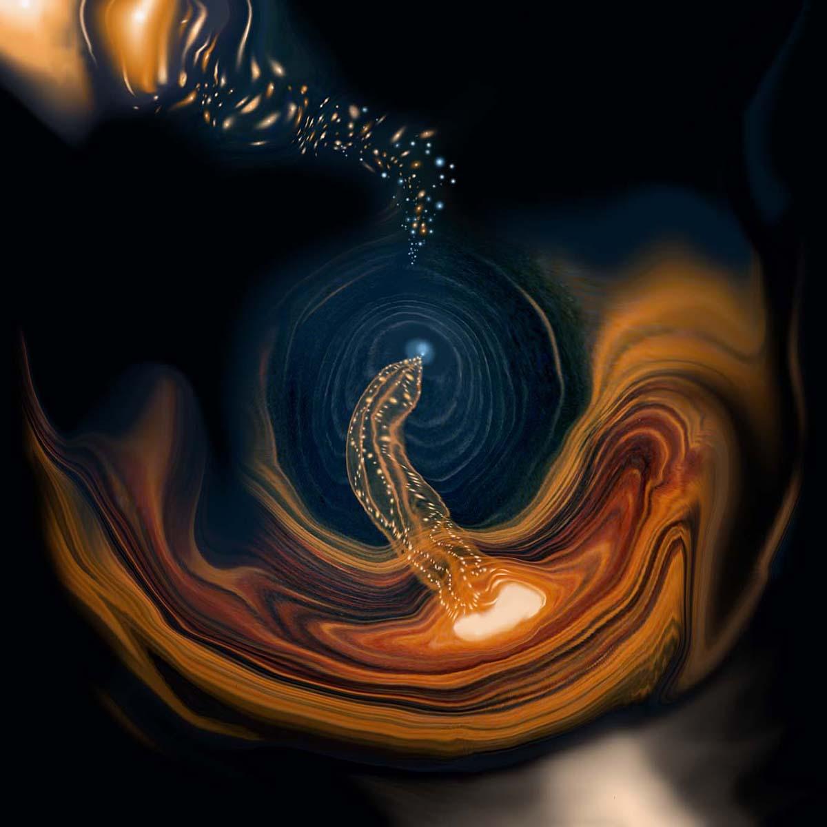 Agujero espiral anaranjado